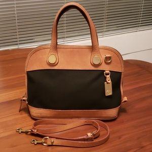 Vintage Dooney and Bourke Leather/Twill Satchel